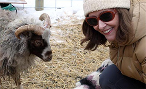 Janis Johnson with Kutur the Icelandic Ram