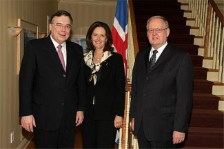 Icelandic Prime Minister Geir H. Haarde, Senator Janis Johnson and His Excellency Markus Antonsson, Icelandic Ambassador to Iceland