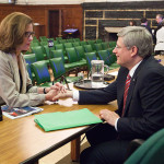 At the Conservative Caucus wit Prime Minister Harper.  Photo courtesy the Office of the Prime Minister