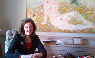 Senator Johnson in her office on East Block, Parliament Hill